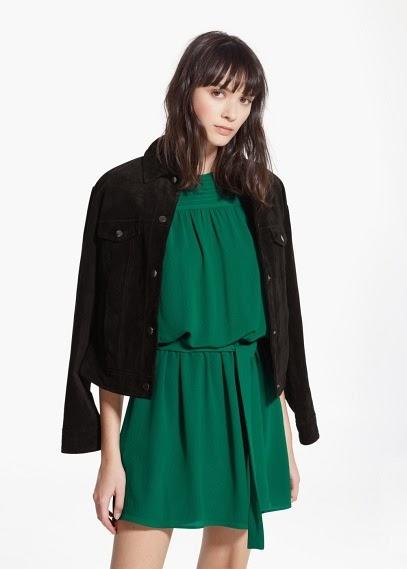 Mango 2015 Elbise Modelleri  yeşil elbise, günlük elbise, şifon elbise