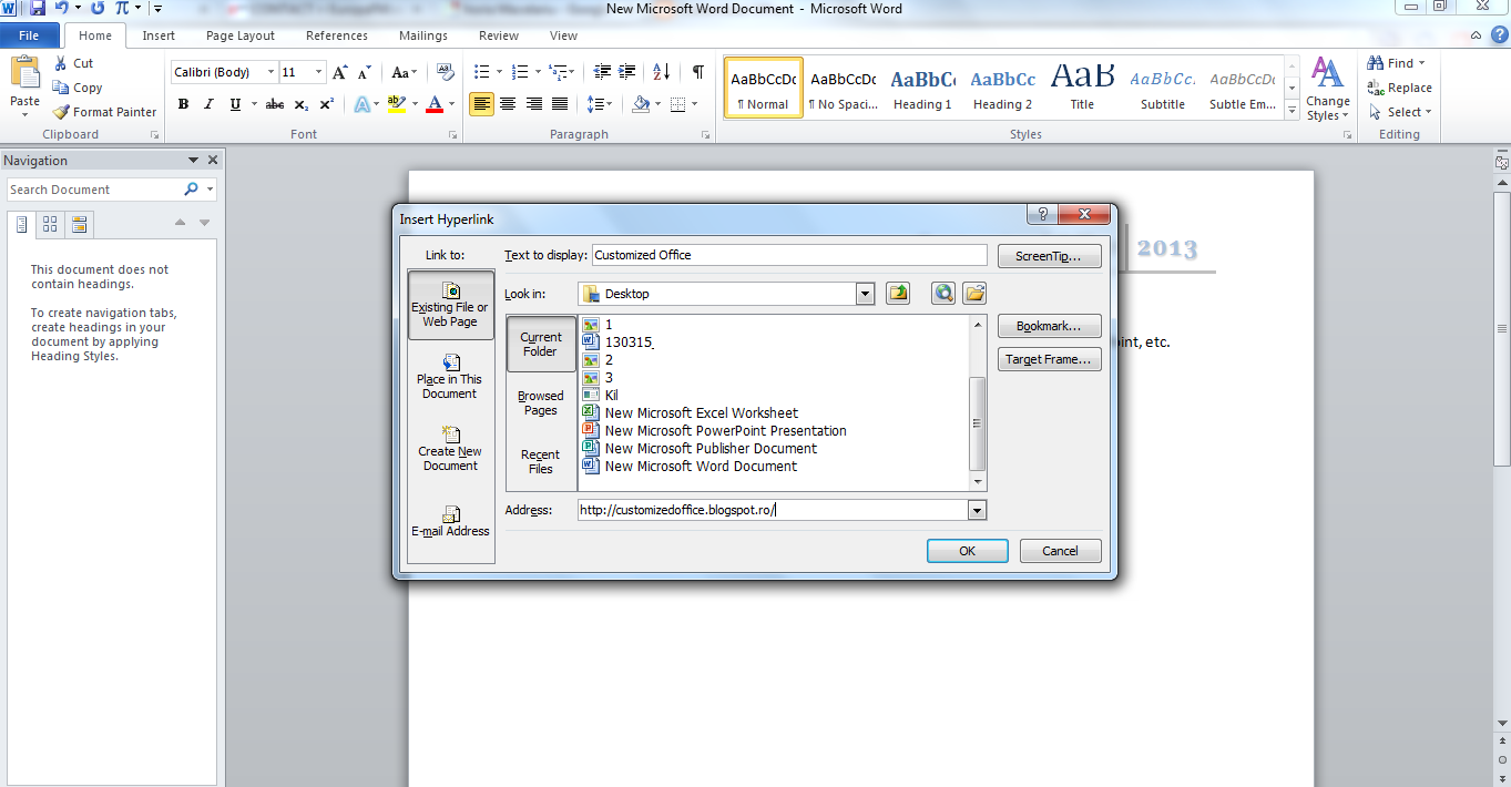how to create a hyperlink in word 2013