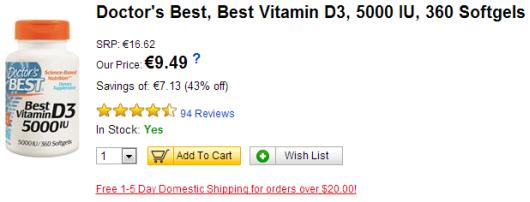 Doctor's Best D3 vitamiini 5000 IU