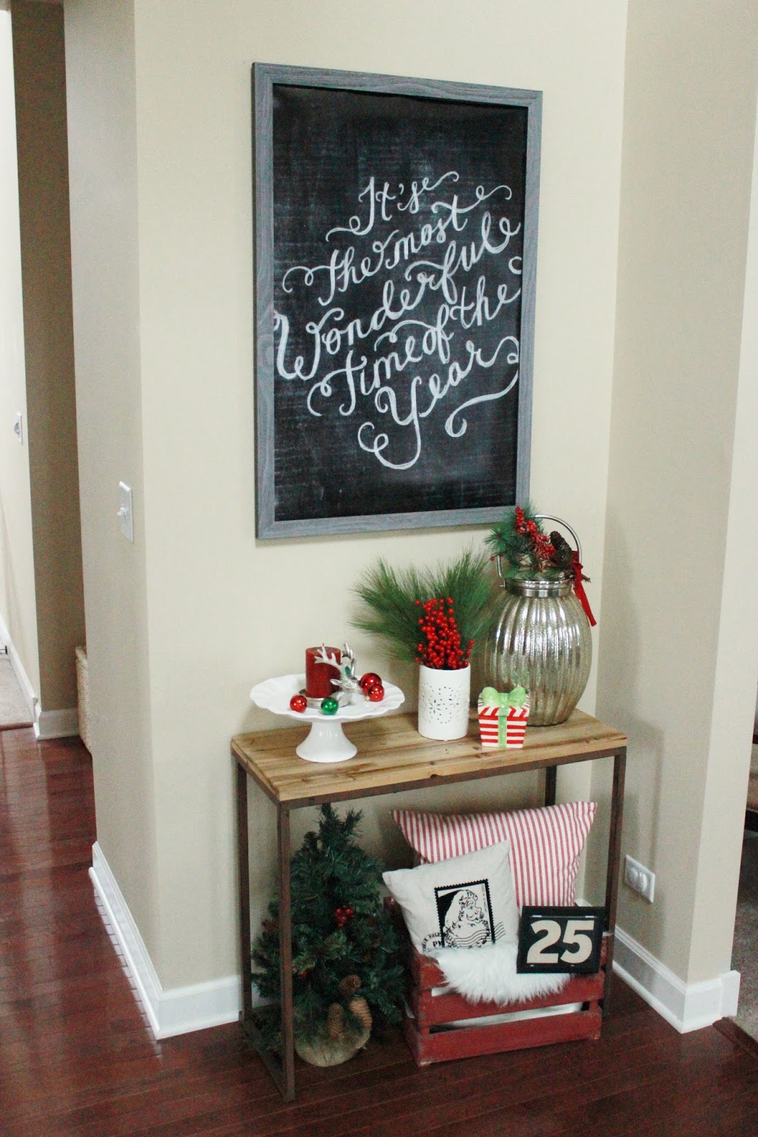 Our Christmas Entryway Holiday Vignette Delightfully Noted