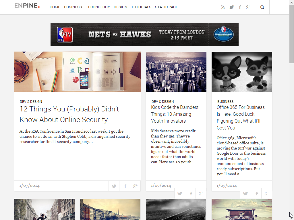 EnpineBlog is Magazine style responsive blogger template