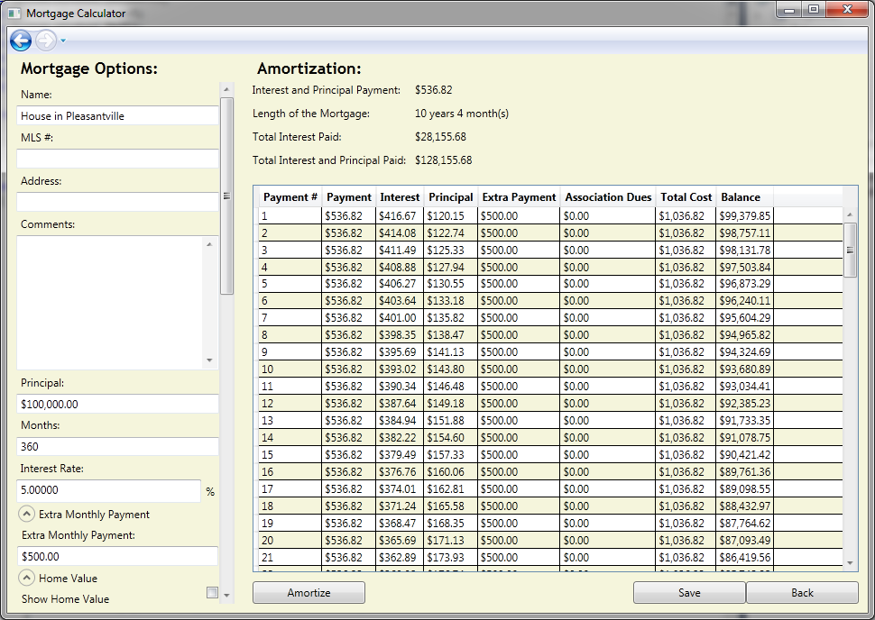 coding projects wpf mortgage calculator table of contents