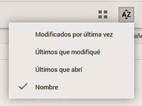 Opciones de Orden Google Drive