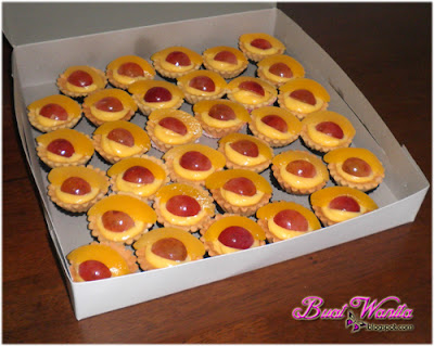 Resepi Mudah Tart Mini Krim Kastard Buah Peach. Cara Buat Tart Mini Cream Kastard Buah Peach. Tart Mini Buah Buahan Sedap Simple Senang