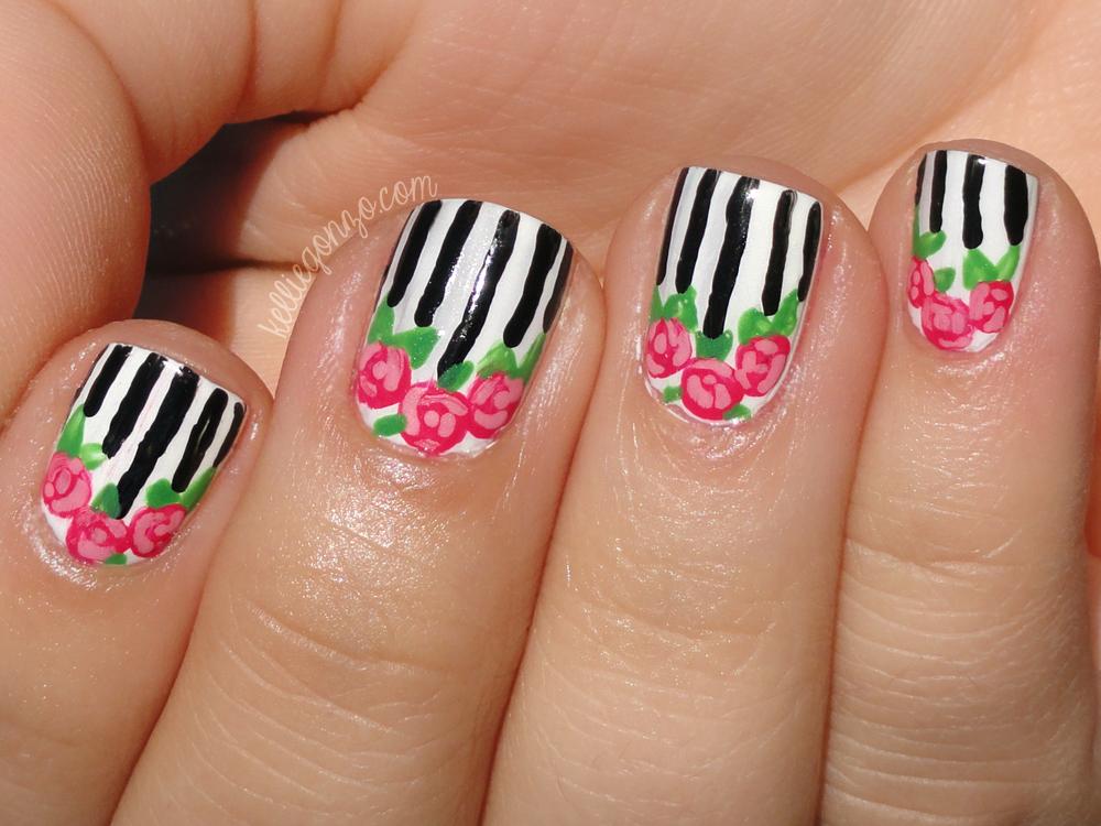 Kelliegonzo nail art with megan stripes roses nail art with megan stripes roses prinsesfo Images