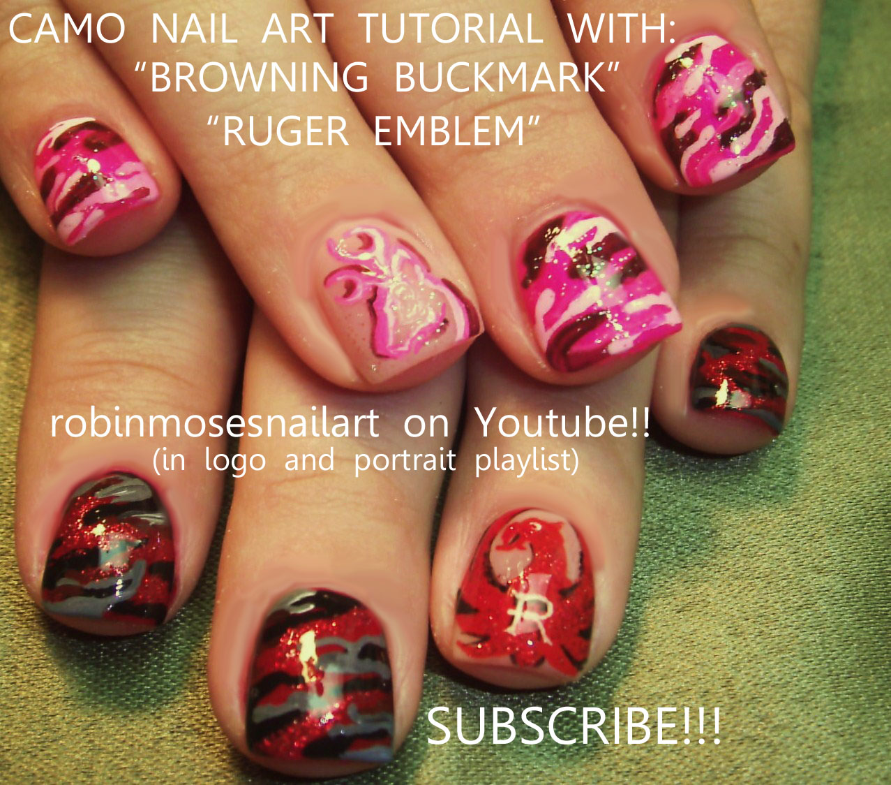 Pink Camo Hunting Nails cutest ever