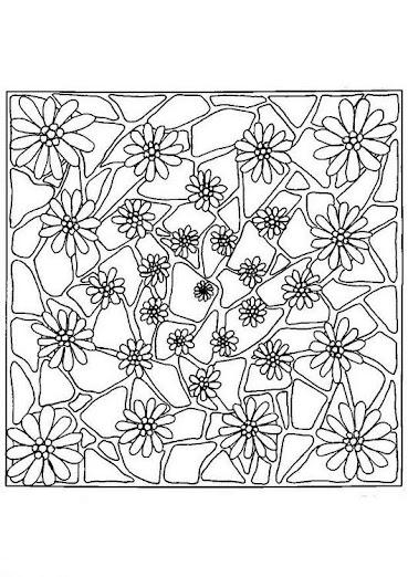 Mandala para pintar cuadrado con flores   Mandalas Para Pintar