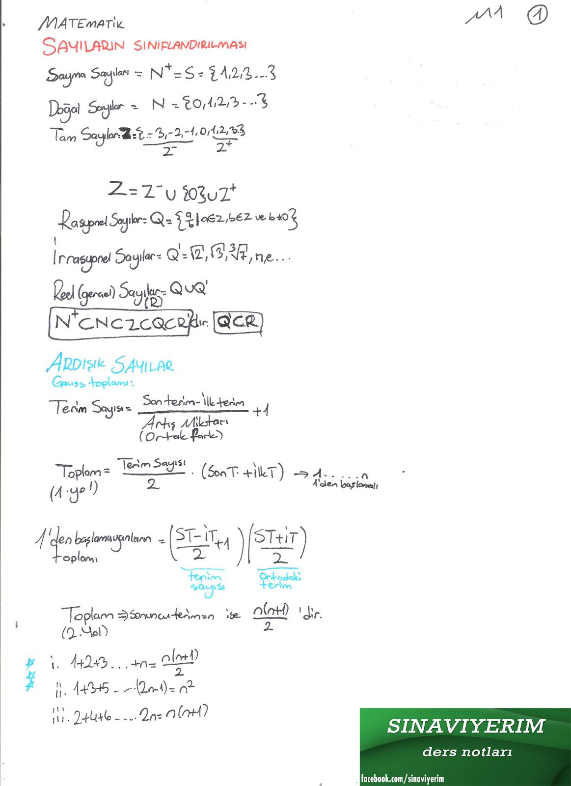 matematik sayılar ders notu