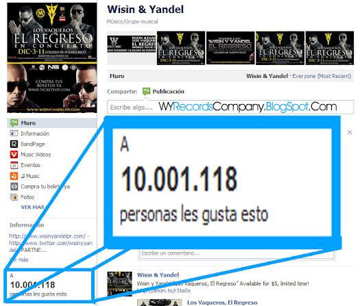 Wisin y Yandel superan los 10 millones de Fans en Facebook
