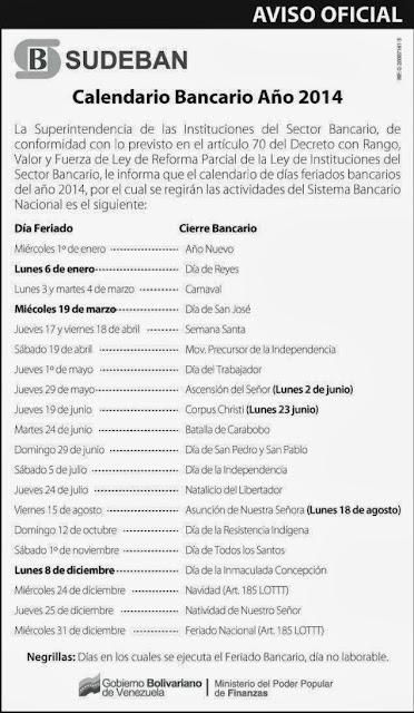 Días Feriados No Laborables 2014 Venezuela