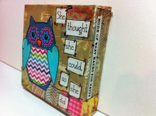 mixed media, owl, canvas owl, hand painted owl, mixed media owl, chevron owl. flower eyes