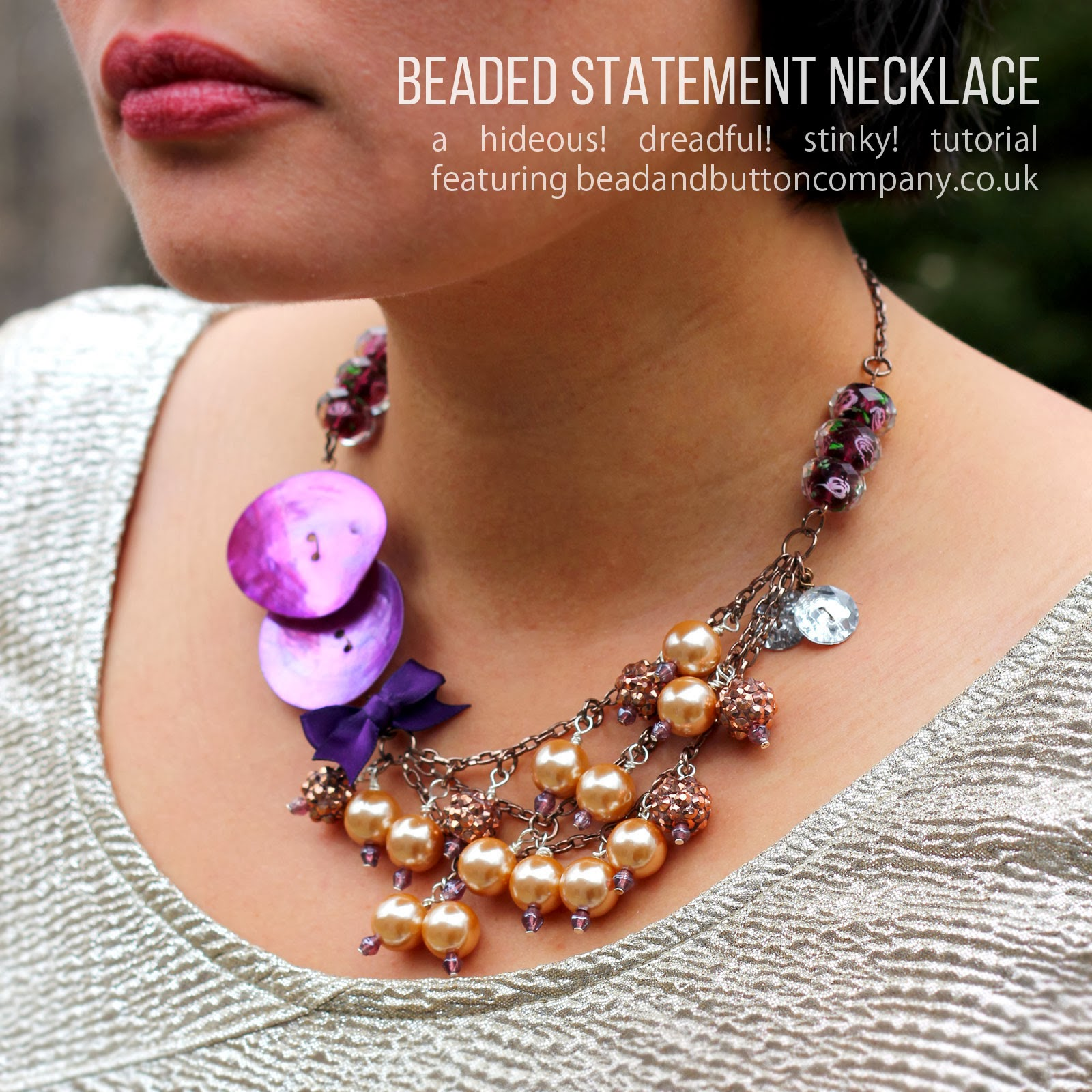beaded statement necklace in radiant orchid