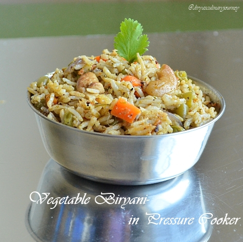 vegetable biryani in pressure cooker, vegetable biryani recipe