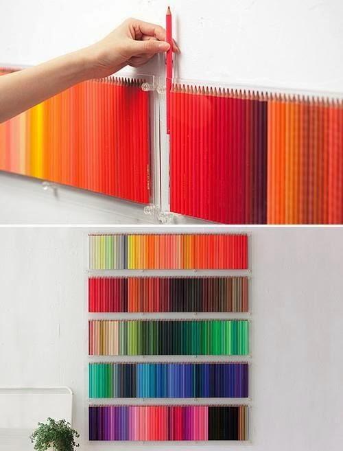 Dicas de reciclados - Quadro com lápis de cor.