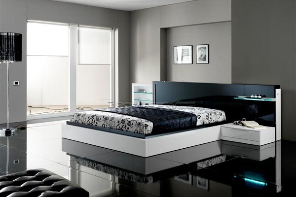 House designs black and white contemporary modern bedroom for Modern bedroom sets