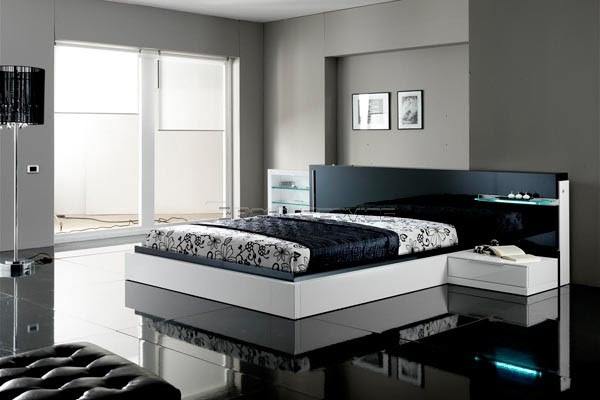 House designs black and white contemporary modern bedroom for Bedroom set ideas