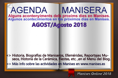 AGENDA MANISERA, AGOST/AGOSTO 2018