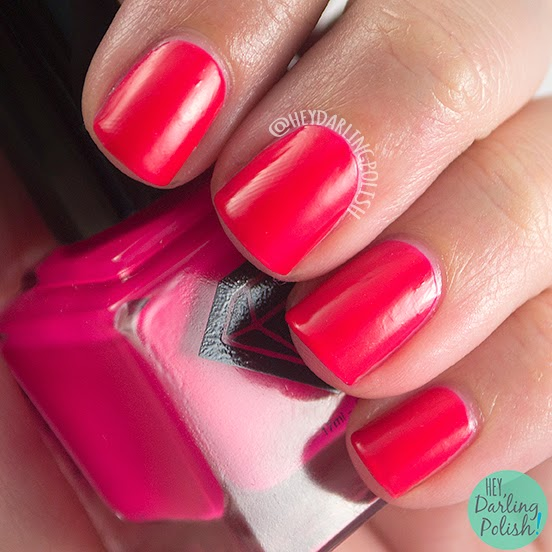 poppy, pink, neon, satin, luxe lacquers, swatch, july box, summer, hey darling polish, indie polish, nails, nail polish,