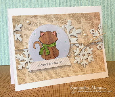 Snow Globe Cat Christmas Card by Samantha Mann for Inky Paws Challenge 4
