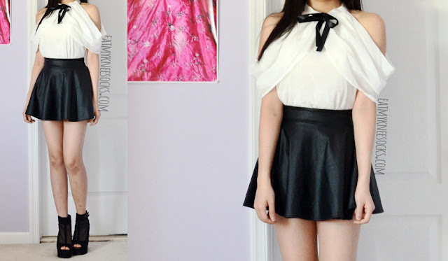 A cute, ulzzang-inspired black-and-white outfit featuring an off-shoulder/cold-shoulder ribboned blouse from Dresslink, a black faux leather skater skirt, and sheer mesh wedges.