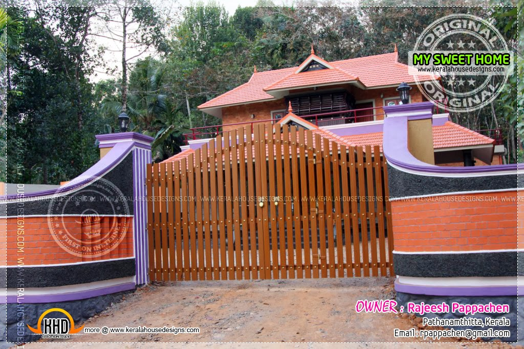 Elevation Gate and elevation. Beautiful house in Kerala   Indian House Plans