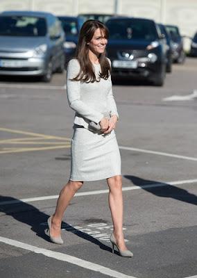 The Duchess of Cambridge is elegant in a light grey tweed dress in Surrey