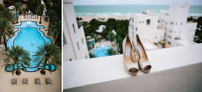 The Raleigh Hotel iconic pool / Jimmy chop wedding shoes