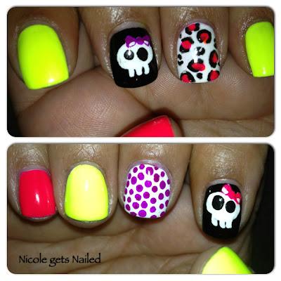 Neon Skull Leopard Polka Dot Nail Art