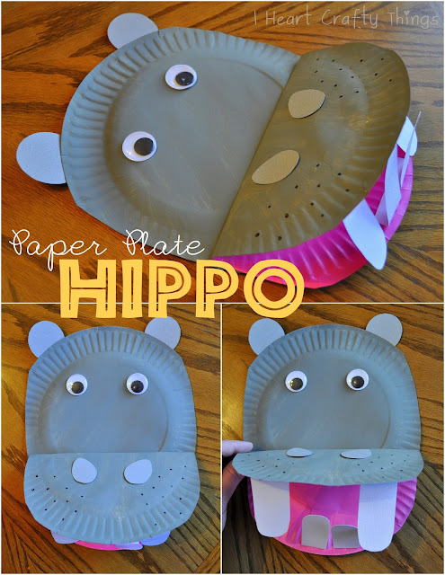 I Heart Crafty Things | Paper Plate Hippo