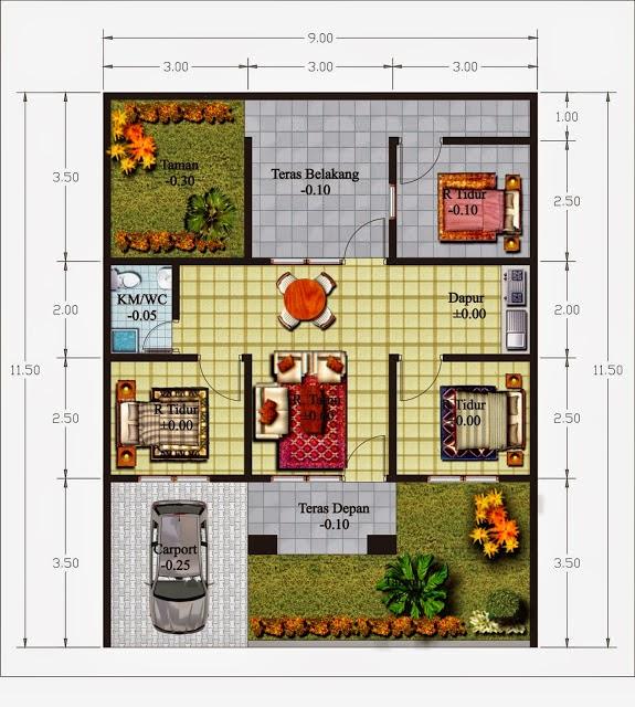 denah sketsa rumah dengan garasi