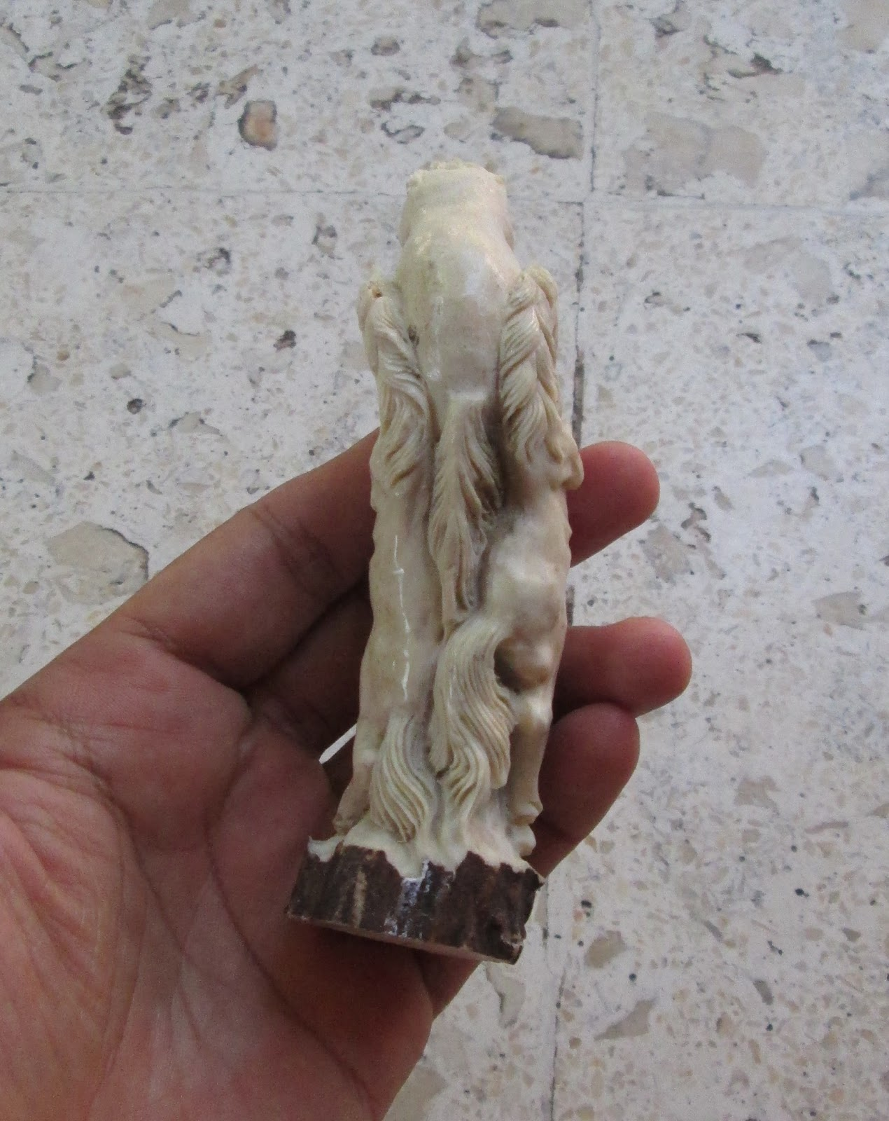 Horse Group Handle Carving in Antler