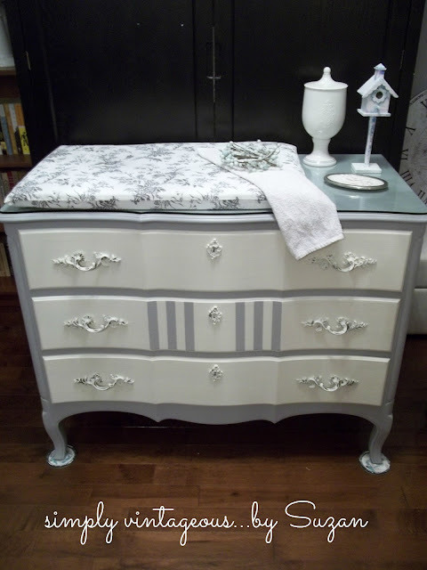 Paris, grey, old, white, dresser, changing, table, painted, stripes, annie, sloan, chalk,