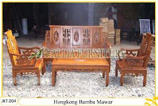 Kursi Tamu Hongkong Bambu Mawar Ukiran Kayu Jati