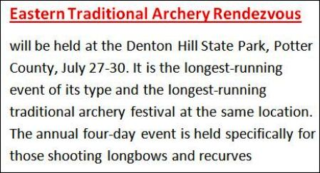 7-28/29/30 Eastern Traditional Archery Rendezvous
