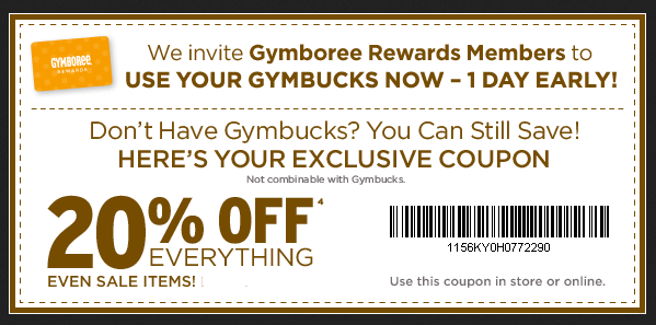 Gymboree printable coupon january 2018