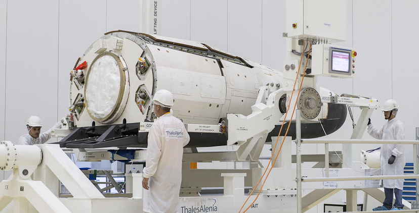 The IXV Intermediate eXperimental Vehicle is being prepared for launch at Europe's Spaceport in Kourou, French Guiana. Credit: ESA/CNES/Arianespace/Optique Video du CSG - P.Baudon