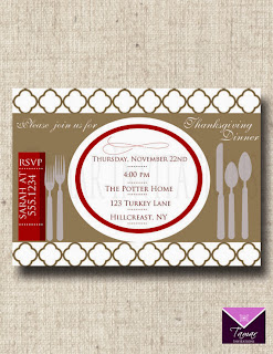 Etsy Tamar Invitations Printable Thanksgiving Dinner Party