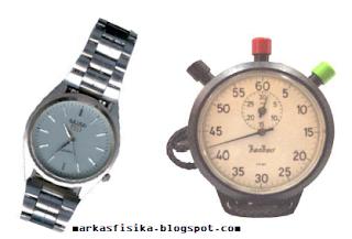 Besaran pokok merupakan besaran yang satuannya sudah ditentukan atau ditetapkan terlebih dahulu. a. jam tangan / arloji b. stopwatch