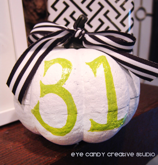 white painted pumpkin, 31 painted on pumpkin, Halloween home decor