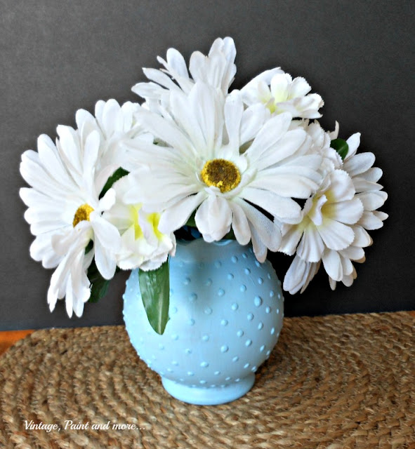 Vintage, Paint and more... DIY faux blue hobnail glass from Dollar Tree vase and craft paint