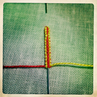 Embroidery: Square knot drizzle stitch tutorial 6