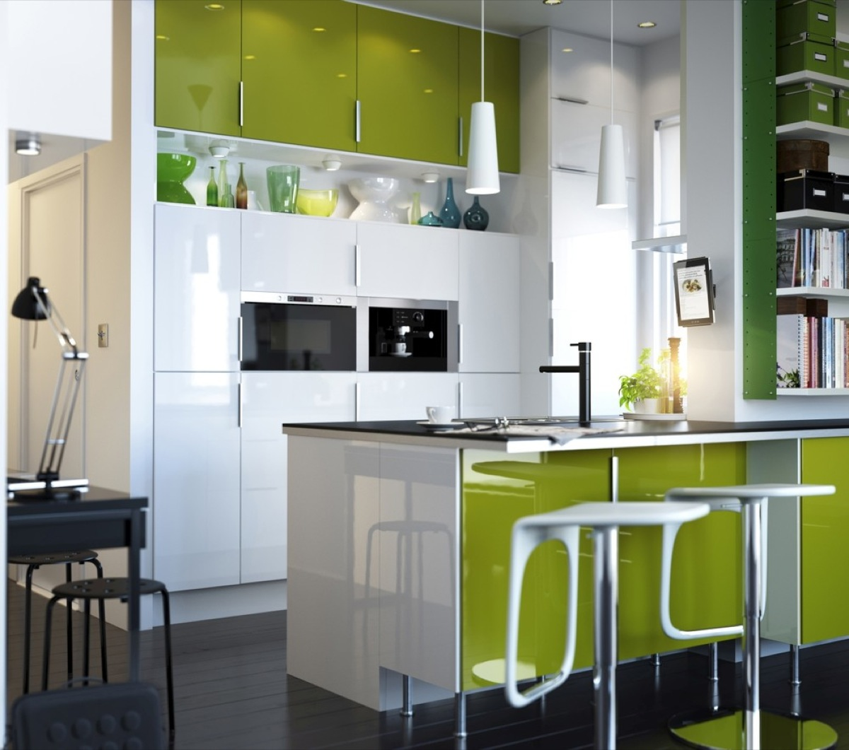 Kitchen with white and green furniture