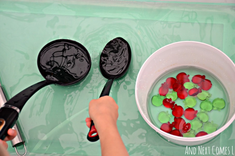 Apple themed fine motor water sensory play for toddlers and preschoolers from And Next Comes L