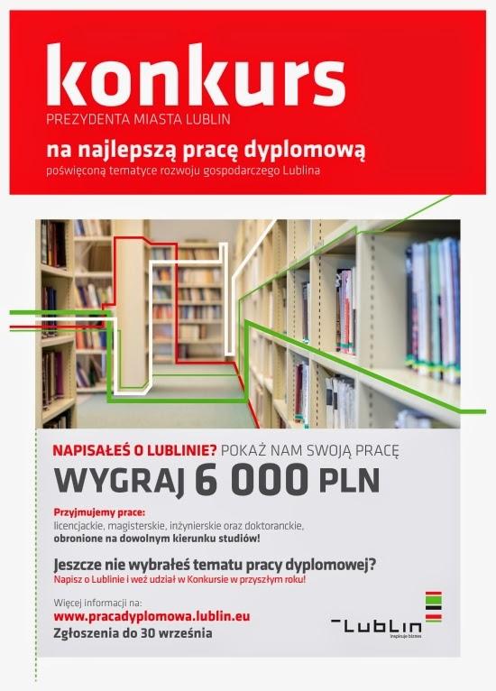 Plakat reklamowy V edycji konkursu prezydenta miasta Lublin na najlepszą pracę dyplomową