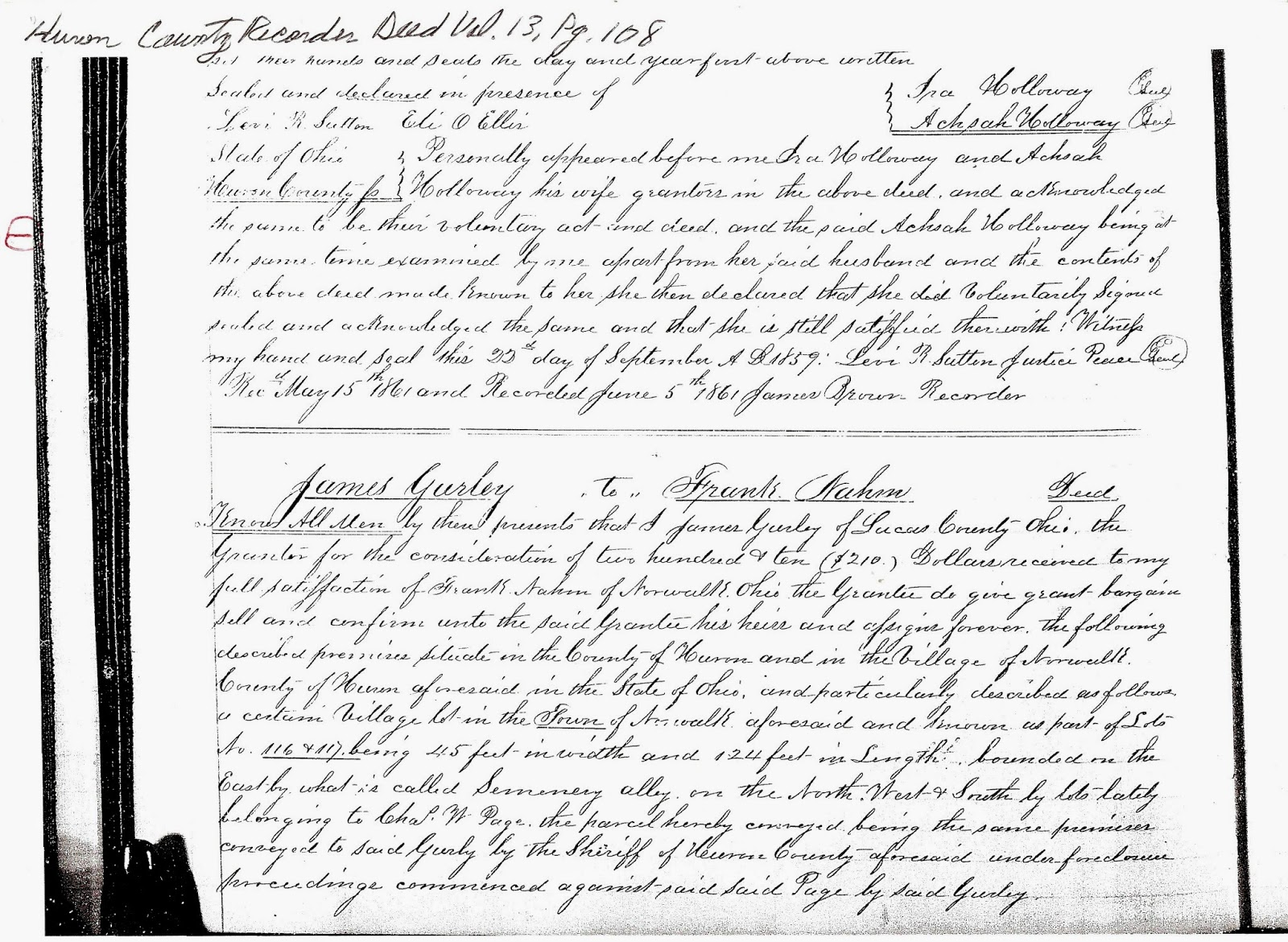 Family history research of a sahm volume 13 page 108 109 file james gurley to frank nahm for james gurley of lucas county ohio 5 june 1861 huron county recorder deeds norwalk aiddatafo Image collections