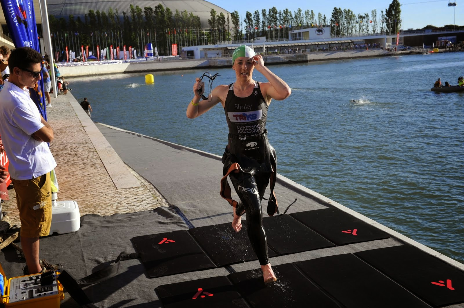 First out the water at the Lisboa Triathlon 2014
