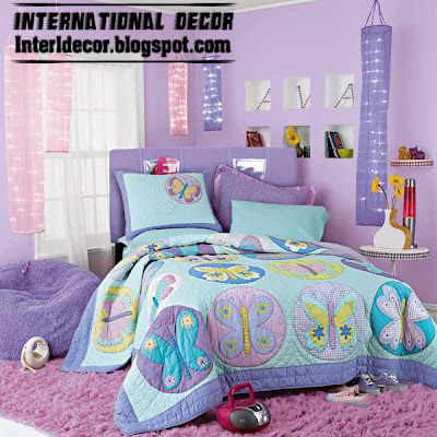 purple girls bedroom ideas with stylish girls bedding, butterfly girls bedding