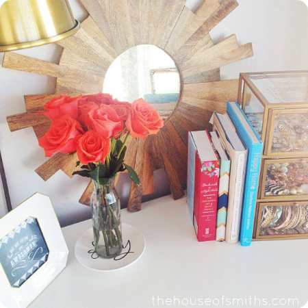 Nightstand in master bedroom - thehouseofsmiths.com
