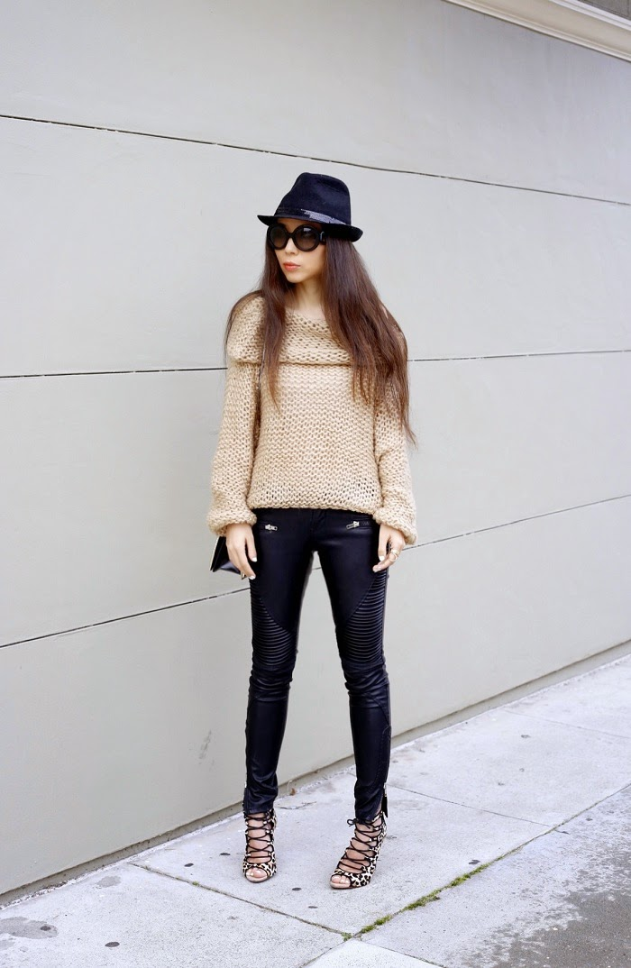 Sheinside camel the off shoulder chuncky sweater, blank denim moto pants, zara leopard sandals, prada sunglasses, nordstrom fedora hat, 31phillip lim bag, baublebar statement rings, marc jacobs ring, fashion blog, on sale, deal, stylish