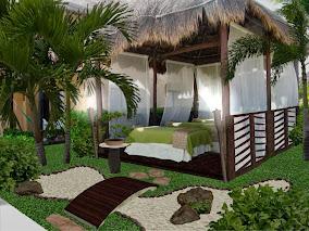 diseño de jardines pequeños - Zen - roca, arena y bonsai - alumbrado noche